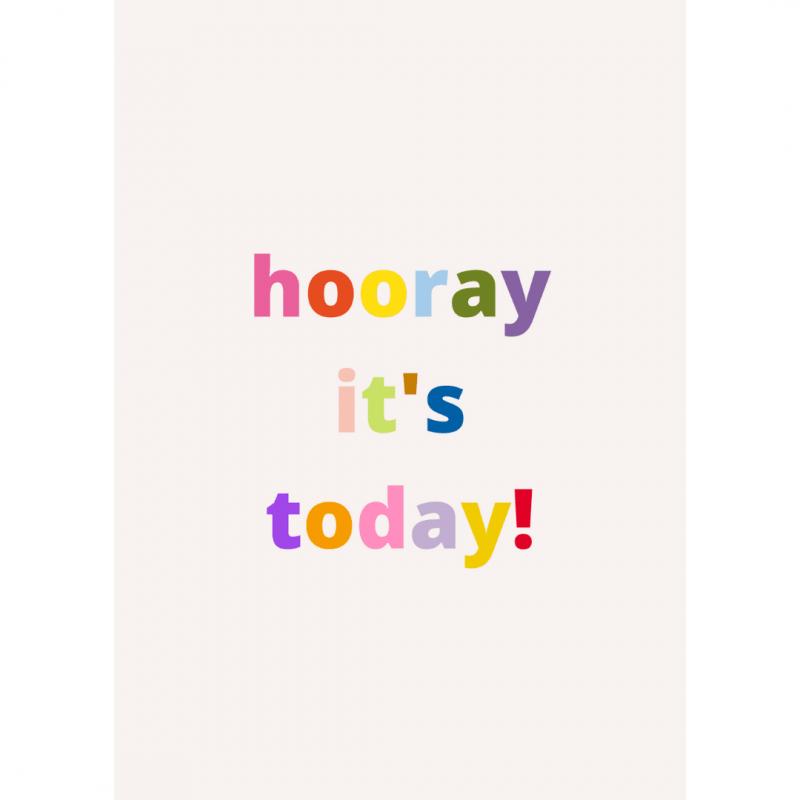 wenskaart-van-gekkiggeit-met-leuke-tekst-hooray-it's-today