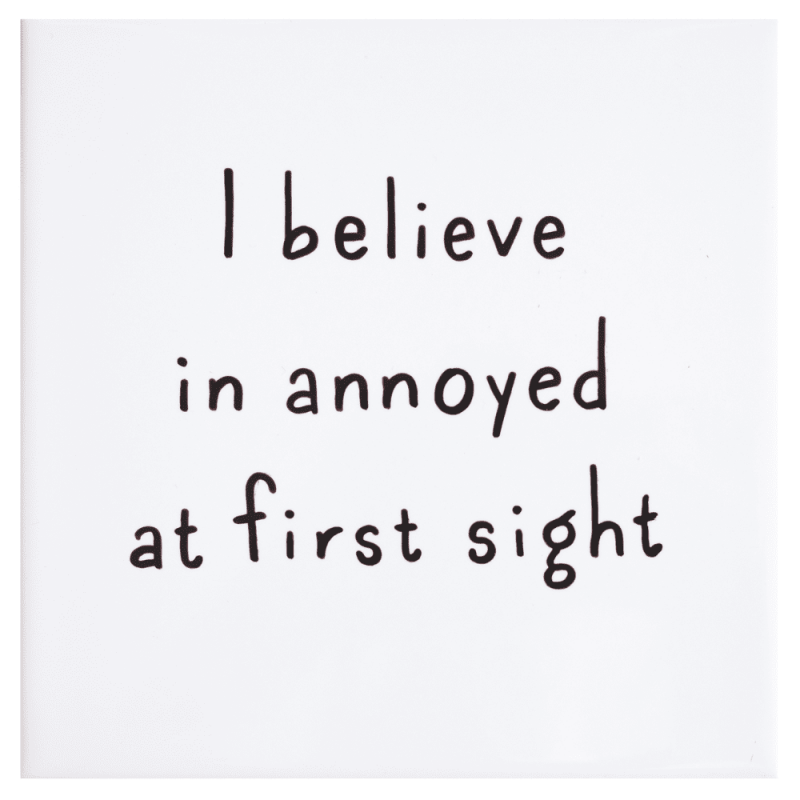 tegel-van-gekkiggeit-met-grappige-tekst-I-belive-in-annoyed-at-first-sight