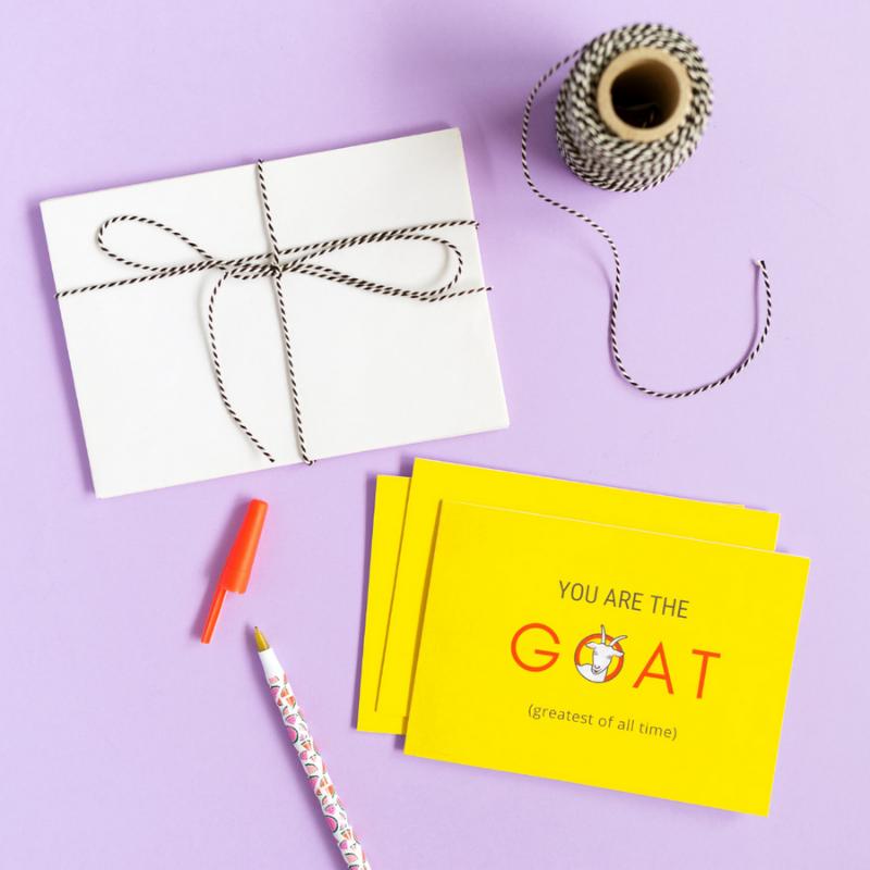 sfeerfoto-van-wenskaart-you-are-the-goat-met-een-pen-en-enveloppen