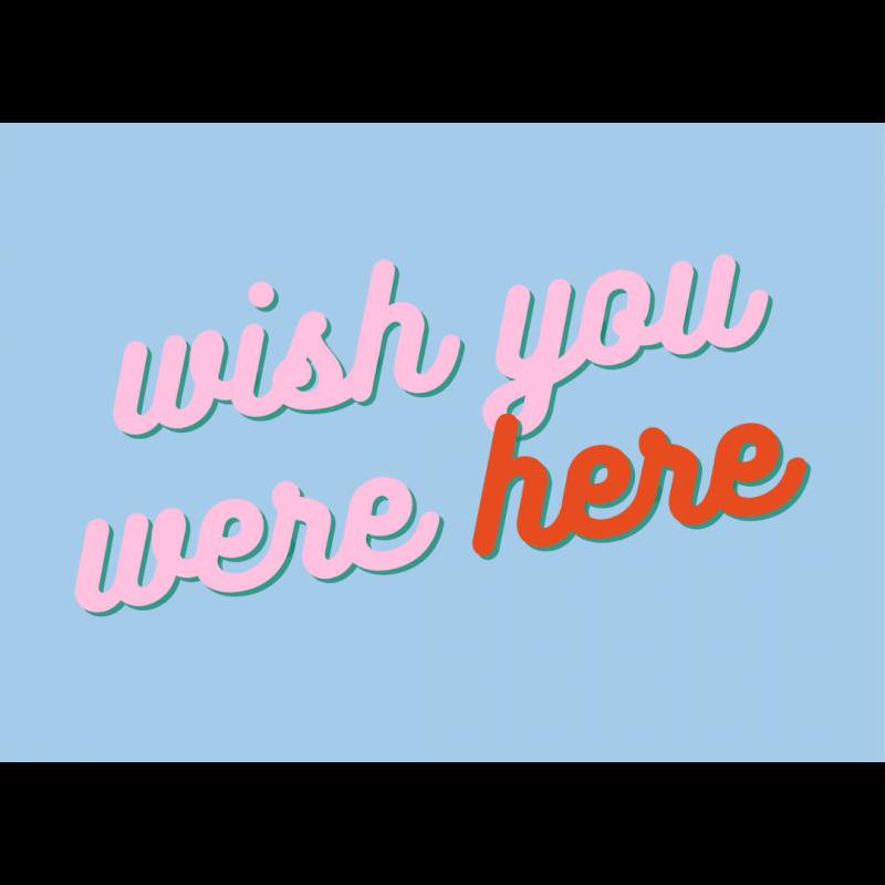 Ansichtkaart-Gekkiggeit-met-teks-twish-you-were-here